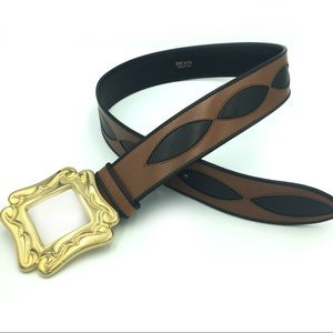 Escada Statement Belt Brown Wide Leather Italy 42